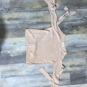 Worn once Blush sweater cut outs in arms and ties